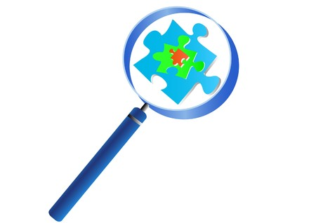 Magnifying glass analyzing the puzzle Vector