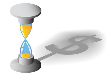 counting money: Time is money concept Illustration