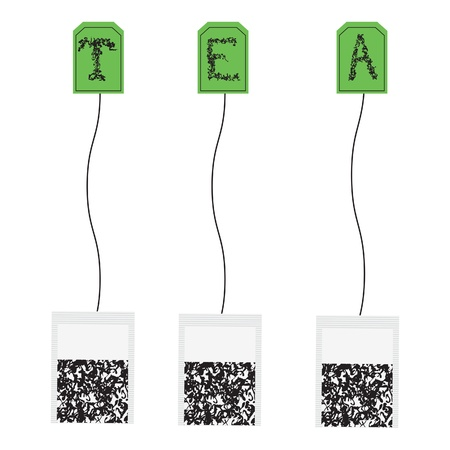 Various teabags  Vector seamless background