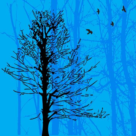 Landscape with birds and tree  Vector Illustration  Stock Vector - 16219367