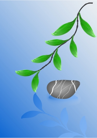 Wet pebble stone and green leafs  Vector Illustration  Illustration