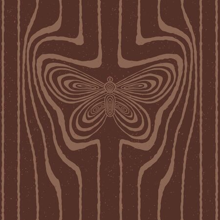 Wood grain stylized as butterfly  Vector seamless background  Vector