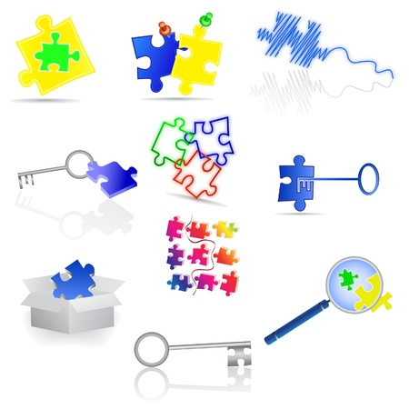 Puzzle icons and elements. Vector illustration. Vector