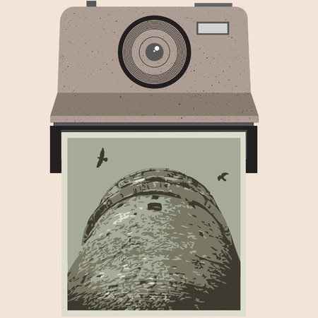 Retro vintage camera and photo with bird and tower. Vector Illustration. Stock Vector - 16219368