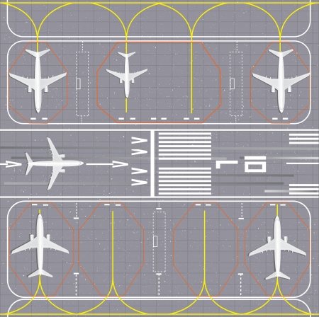 tourists stop: Airport layout. Vector Illustration. Illustration