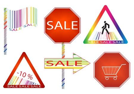 ean: Sale label as a road sign. Vector Illustration. Illustration