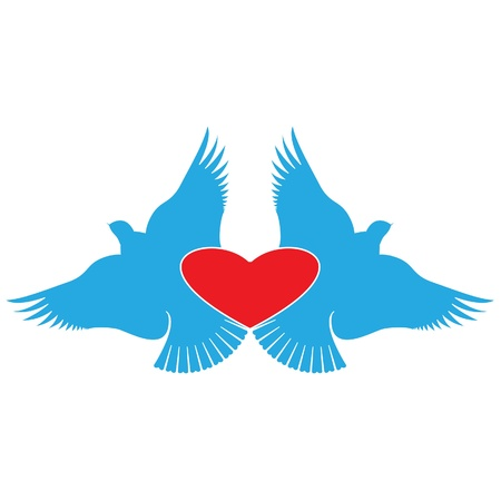 Heart and Birds, valentines day symbol. Vector Illustration. Stock Vector - 16219382