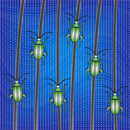 Bugs on a network cables. Vector Illustration.