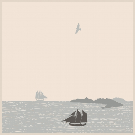 Vintage seascape with ships, mountain, bird. Vector illustration. Vector