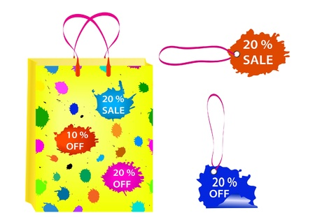 Shopping bag with sale label. Vector Illustration. Vector