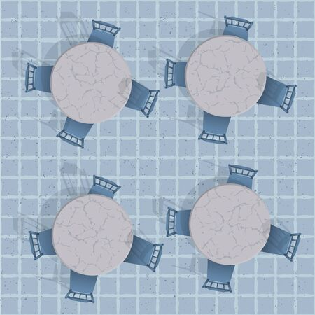 cafe table: Overhead view of a cafe table with chairs. Seamless vector background Illustration