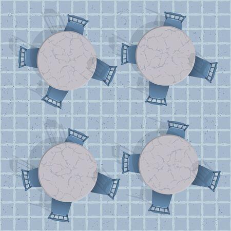 Vue de dessus d'une table de café avec des chaises. Seamless vector background Banque d'images - 16219274