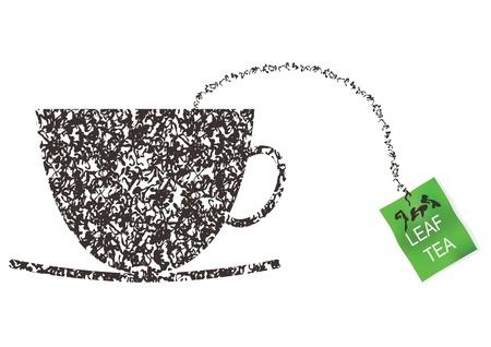 comida inglesa: Copa hecha de hojas de t� concepto. Vector Illustration.