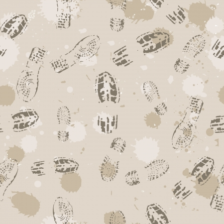 Grange seamless background with footprints. Vector illustration. Vector