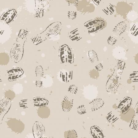 barefoot walking: Grange seamless background with footprints. Vector illustration. Illustration
