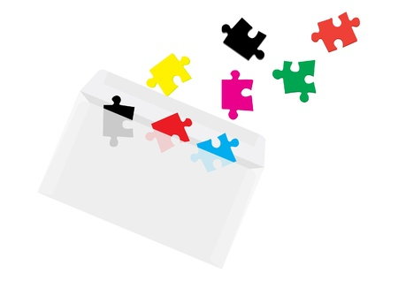 puzzles in envelope concept. Vector Illustration.