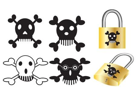 Skulls and crossbones stickers. Vector Illustration. Stock Vector - 16219287