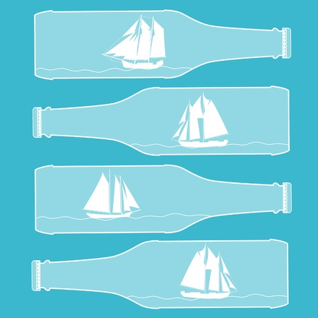 Ships in bottles. Vector seamless background. Vector