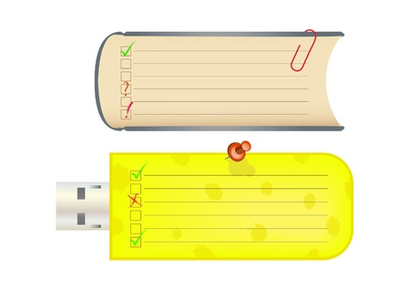 Stickers stylized as a usb flash drive and a book. Vector illustration.