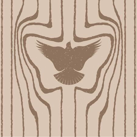 Wood grain stylized as a bird. Vector seamless background.