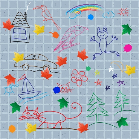 Childrens drawings on the wall. Vector seamless background Vector
