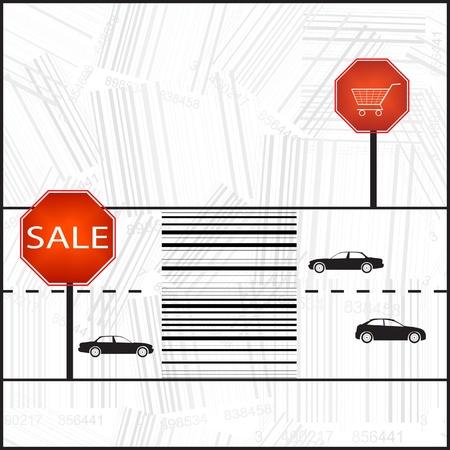 zebra crossing: Barcode sign as a zebra crossing  Illustration
