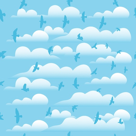 Flying birds on cloud blue sky, seamless background  Vector