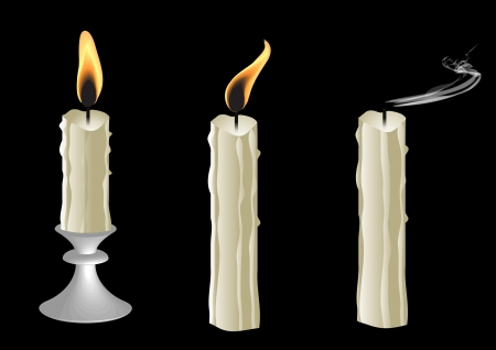Candles on black background  Illustration  Vector