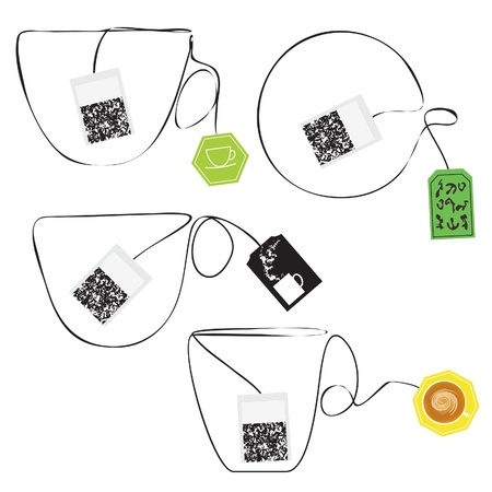 Various teabags stylized as a cup of tee  Graphic Elements  Illustration