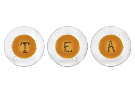 Three cups of tea with tea-leaf stilyzed as T E A letters  Illustration Stock Vector - 16345443