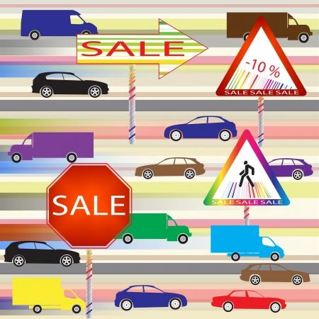 ean: Sale label as a road sign  Illustration  Illustration