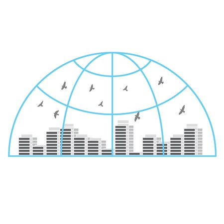 Icon with globe, urban landscape and birds. Illustration. Vector