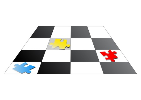goal cage: Puzzles on chessboard. Illustration.