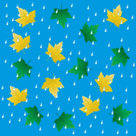 Rain and falling leaves. seamless background. Vector