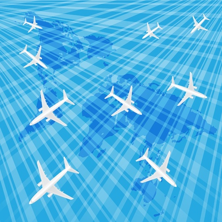 wold map: Airplanes in the blue sky over the wold map. Illustration. Illustration