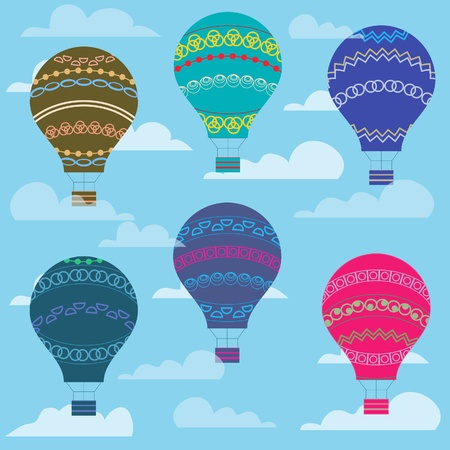 hands in the air: Colorful balloon in the sky, seamless background  illustration  Illustration