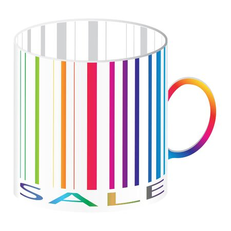 ean: Barcode stylized as a cup, colorful version  Illustration