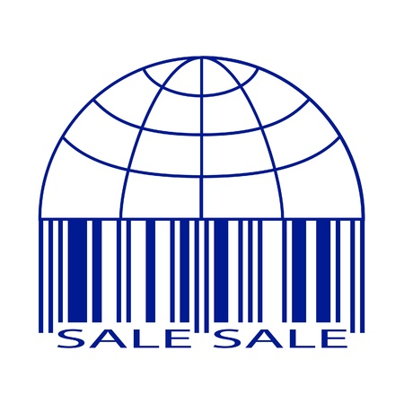 Sale label stylized as a globe and barcode  Illustration  Vector