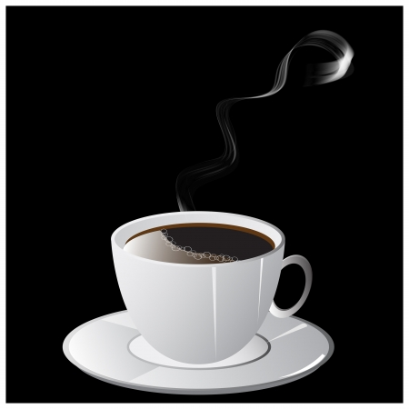 A cup of coffee with smoke and saucer on black background  Illustration  Stock Vector - 16345532