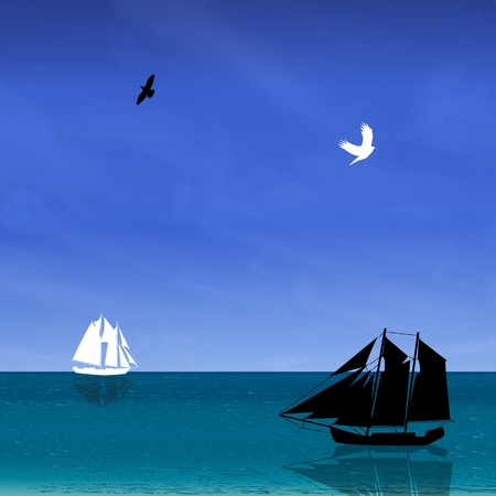 navy blue background: Seascape with black and white ship, bird, blue sky  illustration