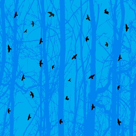 Horizontal seamless background with birds and blue tree  Illustration Stock Vector - 16345514