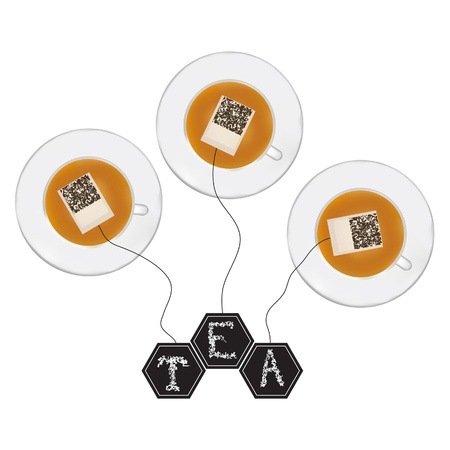 Set of teabag with tag T E A in the cup  Stock Vector - 16518130