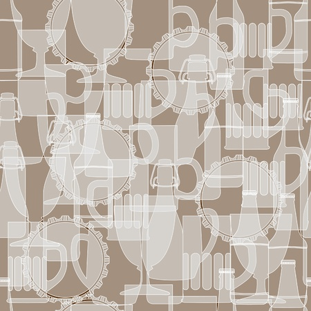 glasse: Vector seamless pattern  White silhouette of beer bottle and glasse on brown background