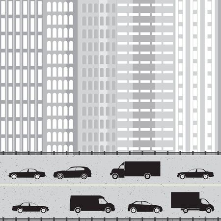 Industrial cityscape with highway, cars and skyscraper  Vector background
