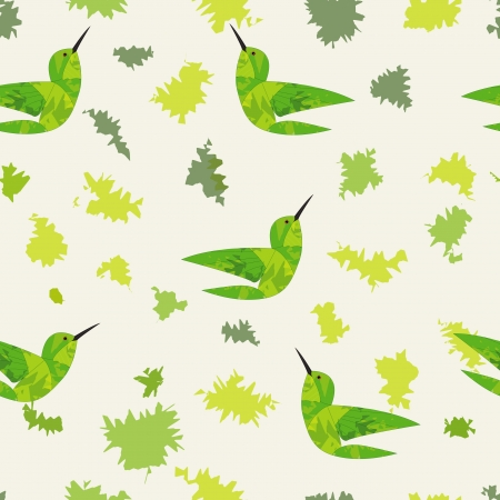 Applique style seamless background with leaf and bird  Vector Illustration