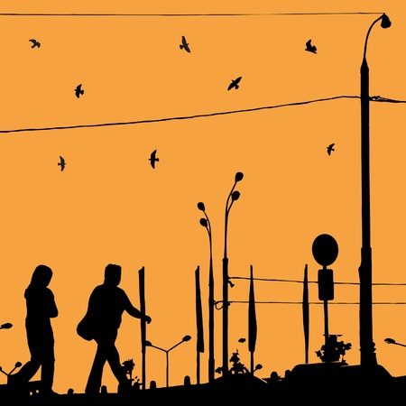 Sunrise in the city with man and woman silhouette and bird  Vector illustration  Vector