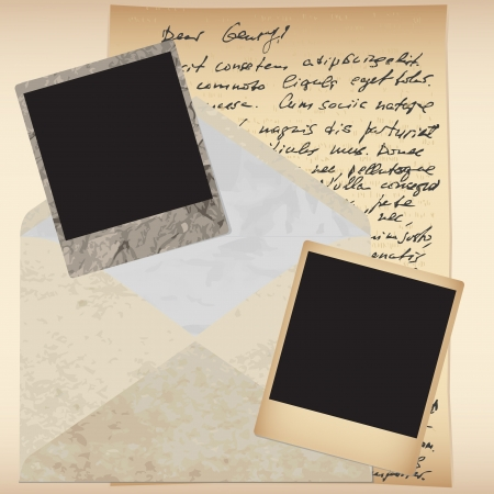 Set of old retro vintage envelope, frame and letter Stock Vector - 17641591