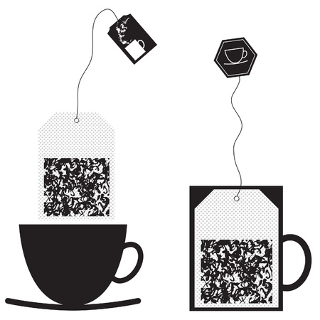 Set of teabag and cup. Vector