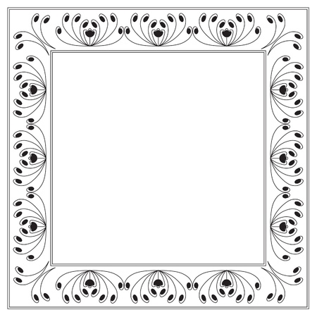 Square frame with floral and swirl motif. Background Illustration. Vector