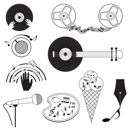 Set of black and white music icons. Vector